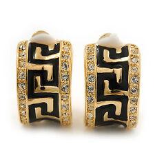 Small C-shape Diamante 'greek Pattern' Clip on Earrings in Gold Plating - 17mm L