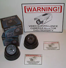 FAKE MINI DOME DUMMY CAM SPY SECURITY SURVEILLANCE CAMERAS +WARNING SIGN+DECALS