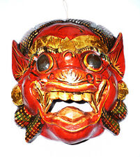 RED Wooden monkey mask of Barong, hand-carved in Bali, wall mask, new