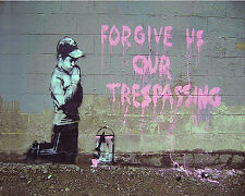 Banksy graffiti Street Art Forgive us our Trespassing 24 x 30 inch Canvas Print
