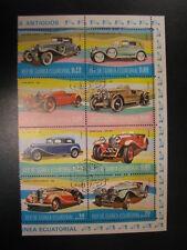 Stamps Republica De Guinea Ecuatorial 1/2 postzegelblok Coches Antiguos