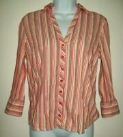 St Johns Bay Womens Top Size M Stretch Red Orange Pinstripe Button Up 3/4 Sleeve