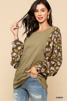 GIGIO By UMGEE  Amber With Floral Printed Dolman Sleeve Round Hem Top Size Large