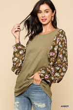 GIGIO By UMGEE  Size S Amber With Floral Printed Dolman Sleeves Round Hem Top