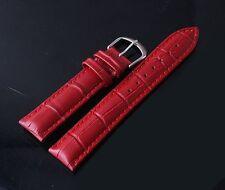 Cinturino In Pelle Universale Ricambio Per Orologio Larghezza 20mm Rosso lac