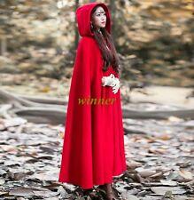 Elegant Women Hooded Super Long Wool Blend Jacket Red Winter Overcoat Clock Cape