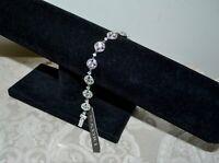 NWT $140 NADRI CZ Crystal Rhodium Plated CRYSTAL Station Bracelet Bridal