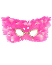 Pink Feather Glow In The Dark Masquerade Mask One Size
