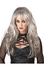 Womens Fallen Angel Long Grey Wig Halloween Ghost Fancy Dress Costume Accessory