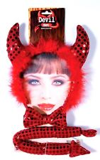 Red Devil Dress Up Kit Sequin Bow Tie Tail Ears Horns Headband Mask Set Adult