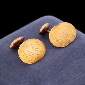 """Antique Vintage Art Nouveau 10k Rose Gold """"ARG"""" Monogrammed Oval MENS Cufflinks"""