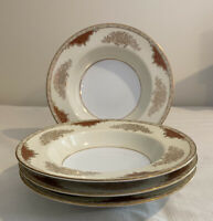 "Set of 4 Noritake 4986 Soup Salad 8"" Bowls Gold Floral Pattern Red Panels"