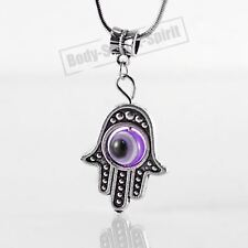 Purple Hamsa Hand of Fatima EVIL EYE Necklace Lucky charm Choker karma Pendant