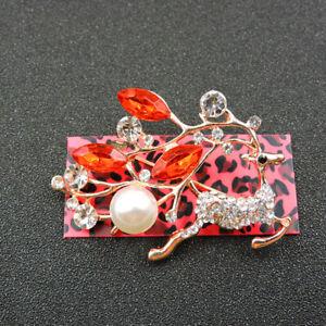 Women's Red Rhinestone Crystal Cute Pearl Sika Deer Betsey Johnson Brooch Pin
