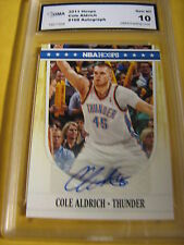 COLE ALDRICH THUNDER KNICKS 2011-12 HOOPS AUTOGRAPH AUTO # 168 GRADED 10