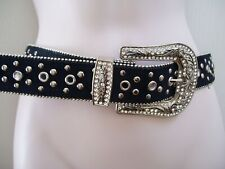 "Bling Waist Belt Rhinestones Black Leather M/L Fits Waist Size 33"" 39"" New"