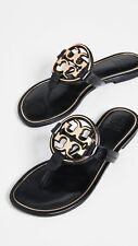 NIB Tory Burch Metal Miller Leather Thong Sandal BLACK Gold US 9.5 AUTHENTIC