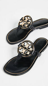 NIB Tory Burch Metal Miller Thong Flip Flop Leather Sandal BLACK US 8 AUTHENTIC
