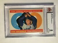 1960 Topps #570 Don Drysdale AS BVG 8 NM-MT Los Angeles Dodgers PSA Fresh Graded