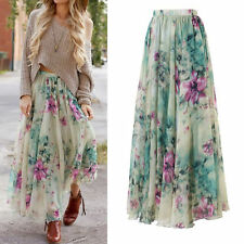 Boho Chiffon High Waist Beach Long Maxi Dress Skater Flared Pleated Floral Skirt