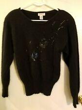 Christian Dior Petites Sweater Pullover Black Lambswool Angora Sequin Beaded