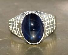 Natural Star Blue Sapphire Gemstone 925 Sterling Silver 10.71 Ct. Wedding Ring
