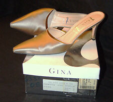 GINA LONDON Pointy Satin Mules England EUR 7 - US 9 color PEWTER   $345