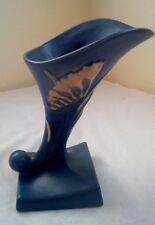 "Fine 40's Roseville Art Pottery 8"" Cornucopia Freesia Dark Blue Vase 198-8"" USA"