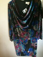NWT..AMERICAN GLAMOUR..L..VELVET DRESS..DRAPPED NECK..MUTED FLORAL