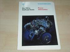 56099) VW Golf III + Vento TDi Pressemappe 06/1993
