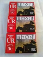 3 - Maxell UR 90 Normal Bias Blank Audio Cassette NEW Factory Sealed !!