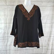 Gretchen Scott Designs Womens Tunic Sz Medium Black Brown Embroidered V-Neck