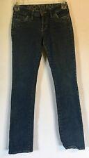Delias women's juniors morgan straight leg medium wash distressed jeans size 3/4