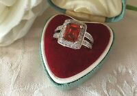 Vintage Jewelry White Gold Ring with Ruby Sapphires Antique Deco Jewellery 7 O