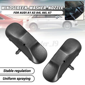Pair Front Windscreen Washer Nozzles Jet Heated For Audi A1 A3 A4L A6L A7 TT //