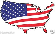 USA WAVING FLAG STICKER AMERICAN UNITED STATES MAP FLAG BUMPER STICKER