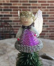 Vintage 1950s Purple Aluminum Mesh ANGEL with Candles Feather Tree Topper,Figure