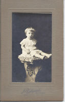 #32P Vintage Cabinet Photo Barefoot Baby w Bowl Haircut Sits on Pedestal Chicago