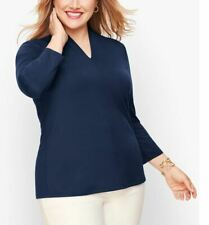 Talbots Plus Size Navy Platinum Jersey High Neck Blouse Top 1X