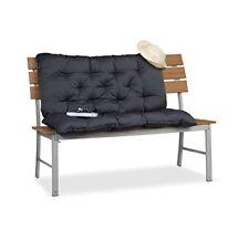 Relaxdays Cojín para Banco de exterior con respaldo tela gris 54.3x46x25.5 cm