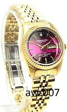Swanson Ladies Gold-tone, Burgundy- Dial 01 Sapphire crystals Dress Watch