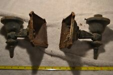 """2 Antique vtg Arts & Crafts cast iron porch sconce light fixture 3 1/4"""" fitter"""