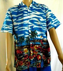 Hawaiian Aloha Shirt Mens Size Large Beach Woodie Surfboard Hawaii Tropical
