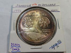 U16 Jamaica 1972 10 Dollars UNC Nicely Toned