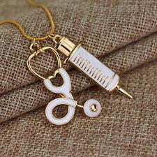 Medical Stethoscope Syringe Pendant Necklace Gold Chain Nurse Jewelry