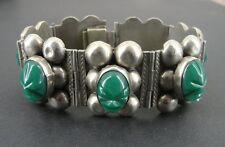 "Green Onyx Mask Face Chunky Link Mexico Silver Bracelet 7"" Long"