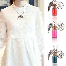 Supernatural Glass Wishing Salt Bottle Angel Wings Star Retro Amulett Halskette