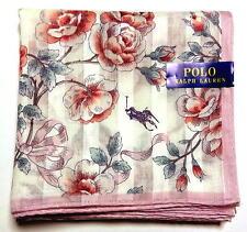 POLO Ralph Lauren Handkerchief hanky scarf bandana Pink White Flower Auth New