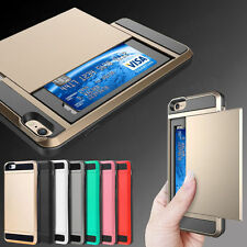 Hard Hybrid Armor Case Cover With Slide Card Slot Holder For All Phone Models UK