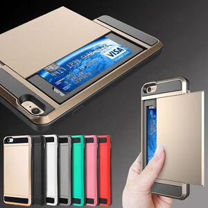 Hard Hybrid Armor Case Cover With Slide Card Slot Holder For All Phone Models UK